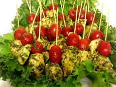 Butterfield Catering. New York, NY New York Catering. Private Parties, Corporate Events. Pesto Chicken Skewers with grape tomato.