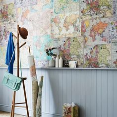 Hall wall lined with map giftwrap Using giftwrap in a montage is an inexpensive alternative to wallpaper. Great for adding interest in a lobby or hallway. Vintage map giftwrap, The Letter Room. Hallway Pictures, Tongue And Groove Panelling, Hallway Inspiration, Map Wallpaper, Hallway Storage, Piece A Vivre, Antique Chairs, Hallway Decorating, Decorating Tips
