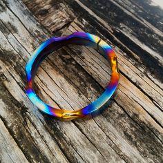 XL Titanium Key Ring - Polished hotspots anodizing and grooves.  [tisurvival.com/] #Titanium #TiSurvival #TiSurvivalLanyardRings