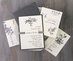 "Gray Wedding Invitations, Wedding Invitations, Elegant and Traditional Wedding Invitation, Ivory Wedding - ""All White"" Deposit"