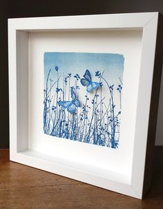 'Butterfly Meadow' Original Cyanotype Framed £40.00
