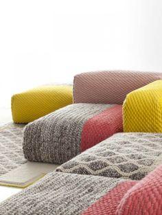 Gespot op de Maison&Objet meubelbeurs in Parijs deze week: dit mierzoete setje van Patricia Urquiola voor het Spaanse textielmerk Gan.