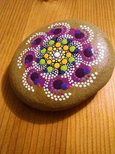 Pinwheel on Purple~ Colorful Dot Art Painted Rocks ~ Original Mandala Design ~ Beach Stone Home Decor by P4MirandaPitrone on Etsy: