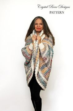 This super comfy oversized sweater shrug fits a range of sizes and features full-length dolman sleeves and an open front. It's easy to crochet and can be made over a weeken