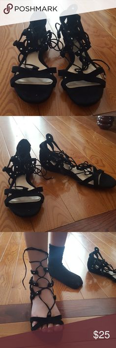 New never worn Vince Camuto gladiator sandal. Black suede flat gladiator sandal. Never worn, purchased at a sample sale. Vince Camuto Shoes Flats & Loafers