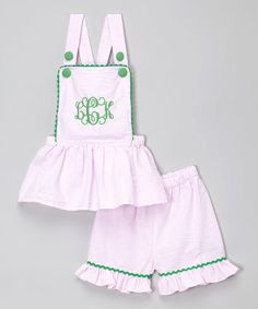 Another great find on #zulily! Pink & Green Monogram Jumper & Shorts - Infant, Toddler & Girls #zulilyfinds