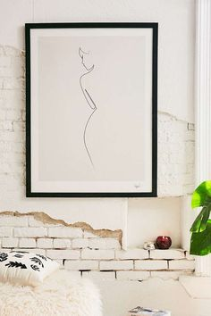 Urban Outfitters  Simple, oversized black and white art would look great on the tub wall, opposite the vanity. Size 30x40 would work well. #AwesomeArt