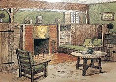 Arts and Crafts Movement Interiors | The Bungalow : A Short History by Patricia Poore. Fireplace inglenook ...