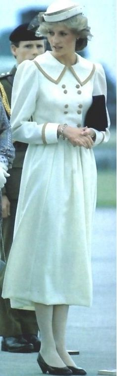 April 17, 1983:  Princess Diana arrives at Auckland Aiport, New Zealand.