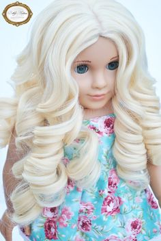 Our new custom doll wig line is here!!!  This is our insanely soft super platinum matte blonde curls wig.  Perfectly fits 18 inch American girl dolls and other dolls with an 11-12 inch wig size!