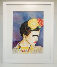 Pintura Frida kahlo na moldura