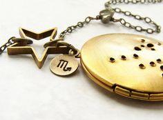 Scorpio constellation Necklace - Scorpio zodiac locket necklace, October November birthday zodiac necklace. $34.50, via Etsy.