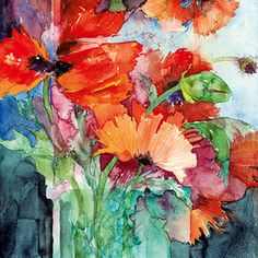 Great watercolor by Shirley Trevena! Watercolor Artists, Watercolor Techniques, Watercolor And Ink, Watercolour Painting, Watercolor Flowers, Painting & Drawing, Watercolours, Art Floral, Shirley Trevena