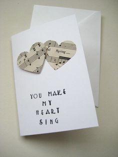 Bride Groom Wedding Anniversary Card. You Make My Heart Sing. Vintage sheet music.. $3.80, via Etsy.