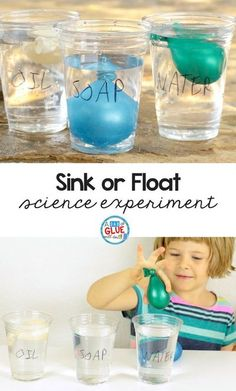 Sink Or Float Science Experiment Using Balloons - Children Will Have A Lot Of Fun Exploring Density In This Fun Hands On Science Project The Sink Or Float Science Experiment Uses Balloons Which Adds An Element Of Fun For Young Kids Tie This Lesson #scienc #experiment  #homeschool #science #reading #scienceforkids Science Experiments For Preschoolers, Science Projects For Kids, Science Crafts, Science For Kids, Preschool Activities, Water Experiments For Kids, Earth Science, Chemistry Experiments, Summer Science