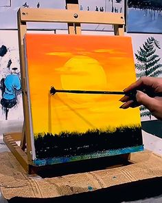 Great art by ID D uyin App art videos sunset painting dailyart sketch drawing Small Canvas Art, Diy Canvas Art, Canvas Canvas, Canvas Painting Tutorials, Canvas Painting Sunset, Canvas Painting Designs, Sunset Paintings, Star Painting, Indian Paintings