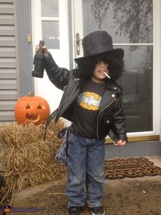 Guns N' Roses Slash - 2013 Halloween Costume Contest via @Costume Works. Maybe for a adult yes I was shocked to see this little boy holding a bottle suppose to representing beer. Not cool at all.