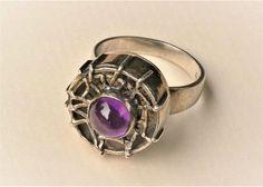 Bengt Hallberg (SE), modernist silver ring with a violet cabochon, 1970.  #sweden #etsy   finlandjewelry.com