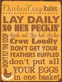 Chicken Coop Rules Metal Sign, Farm Living, Eggs, Hens, Roosters, Country Living, Rustic Decor, http://www.amazon.com/dp/B00U0M9QSK/ref=cm_sw_r_pi_awdm_NJuvvb13Q63Q2