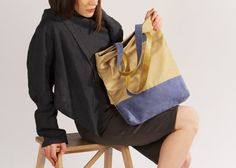 """Canvas Tote Bag with Zipper and Leather Bottom """"Hamilton #3"""" / Cotton Canvas Shopper Bag / Casual Market Tote / Canvas Shopping Bag"""