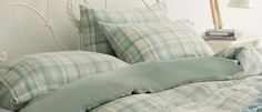 Pale blue check bedding from Laura Ashley - perfect for a beach/coastal themed bedroom. http://www.lauraashley.com/uk/bed-linen/hendon-check-cotton-bedlinen/invt/hendonbl