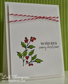 Stamps: Watercolor Winter (SU!); Handy Christmas Greetings (Amy R) Paper: White (C.C. Designs) Ink: Black Staz-on, Gumball Green, Real Re...