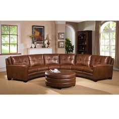 For Meadows Brown Curved Top Grain Leather Sectional Sofa And Ottoman Get Living