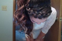 French Braided bangs into a curly pony