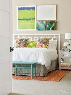 Muted sandy walls, simple white bedding, and a geometric white bed frame cast a laid-back calm over this bedroom, but colorful accents kick it up a notch. Small Master Bedroom, Master Bedroom Design, Home Bedroom, Bedroom Decor, Bedroom Ideas, Master Bedrooms, Blue Bedrooms, Cottage Bedrooms, Bedroom Retreat