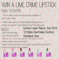 I'm having a Lime Crime lipstick giveaway in spirit of my brand new blog. This giveaway is open internationally and I would love it if you would like to enter. Thank you!