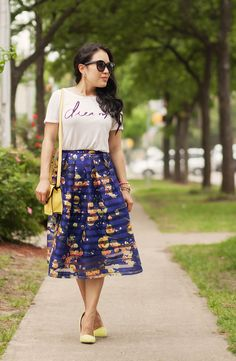 cute & little blog | petite fashion | graphic tee, blue striped floral organza full midi skirt, yellow crossbody purse, yellow pumps | spring summer outfit