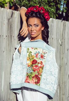 Light blue Denim vest embellished jacket by AnnaDaGalaOfficial