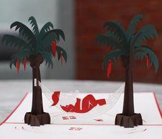 New to LovePopCards on Etsy: Santa Vacation Pop Up Card Christmas Pop Up Card Merry Christmas Greeting Card (10.00 USD)