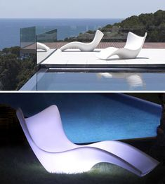 5 Light-Up Outdoor Furniture Sets Glow White at Night. For by the pool lounging.