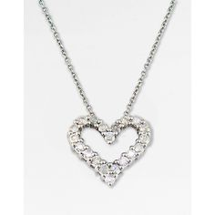 Effy Collection 14 Kt. White Gold Diamond Heart Pendant Necklace (£555) ❤ liked on Polyvore featuring jewelry, necklaces, diamond necklace, diamond chain necklace, heart pendant necklace, white gold heart necklace and diamond heart pendant