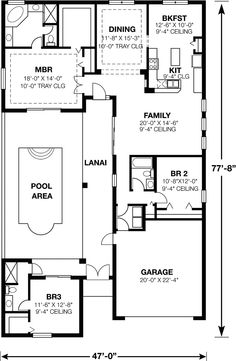 The charming home enjoys an amazing pool area and lanai - plan 116D-0025 - houseplansandmore.com