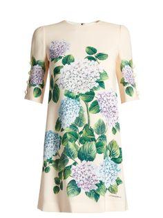 fb58b315 Dolce & Gabbana Hydrangea-print front cady dress Pastel Green Dress,  Short Green