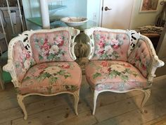 pr 1950's era chairs in vintage floral fabric