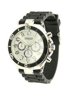 Ernest Horloge Zilver - Zwart is een prachtig zilveren horloge met een zwarte kunststoffen band en een zilveren wijzerplaat.