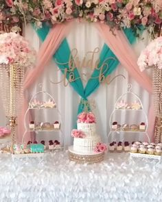 Bridal Shower Dessert Table Princess Fairytale Inspired Bridal Shower Dessert Table with Opulent Treasures Cake & Dessert Stands. Created and Set Up by Steph.creations with cookies by Ste… Mexican Bridal Showers, Blush Bridal Showers, Bridal Shower Desserts, Baby Shower Table Set Up, Graduation Party Decor, Birthday Party Decorations, Birthday Parties, Quince Decorations