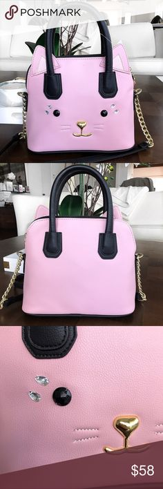 """BETSEY JOHNSON Blush Lblina Kitty Satchel 😻👛 For my Kitty Lovers!! Super adorable 💕. Measure approx 8""""L x 10""""W x 3.5""""D. One zipper pocket inside. Sturdy. The crossbody strap is not removable. It's like a pinky/taupe color. Betsey Johnson Bags Satchels"""
