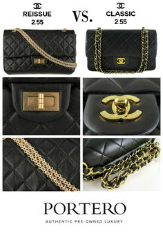 Chanel 2.55 bag comparison: Chanel Reissue vs. Classic Chanel Flap. Visit PORTERO.com to find authentic pristine and pre-owned Chanel flap bags.