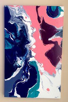 """Hippy chick"" original Laura Adams Wilson. Fluid art. Modern 60's. Happy art. Colourful art."