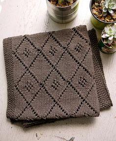 Free knitting pattern for Chocolate Parfait baby blanket with diamond lattice motif