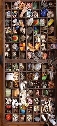 Printer's trays make excellent storage for found objects. Studios Winter 2012 - Studios Magazine - Cloth Paper Scissors