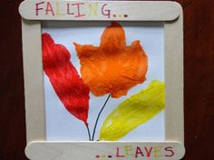 What you'll need:  Scissors Yellow, orange, black and red markers Tacky glue Fresh leaves 4 popsicle sticks One piece of white cardstock Red...