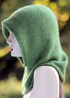 Free Knitting Pattern for Friend oberef the Forest Hood -Gretchen Tracy's hood features a rounded crown and sizing that will fit kids through adults