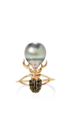 Pink-Gold South-Sea-Pearl Khepri Scarab Ring with Black Diamonds by Daniela Villegas Now Available on Moda Operandi