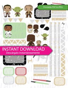 StarWars Funko Pop inspire Space Heros PDF & JPEG Instant Download by LatinaNinaDesigns This set of Space Heros planner stickers high quality made by me. I've included the JPG and PDF files. Each file is 8.5 x 11in and 300 dpi.  You receive: - 1 JPG planner sticker (8.5in x 11in) - 1 PDF file No watermark will be on the files you receive. Erin Condren Planner, Filofax, Plum Paper
