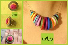 Button necklace and ring inspired by Paul Smith stripes